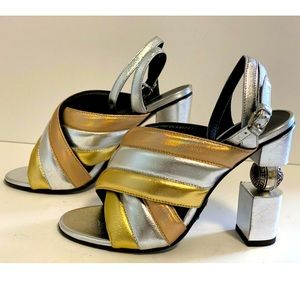 100AUTH BALMAIN Gold Silver Sandals Heels 37/7 NEW